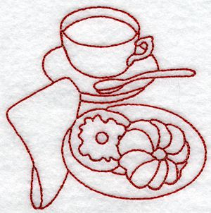 Advanced Embroidery Designs Kitchen Redwork Set