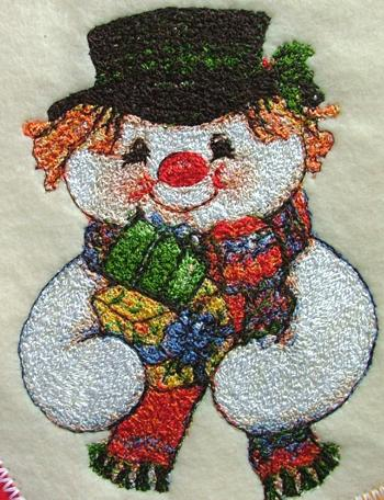 Christmas Stocking with Snowman Embroidery image 2