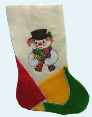 Christmas Stocking with Snowman Embroidery image 4