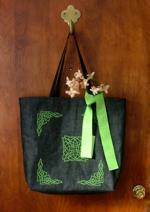 Black tote with Celtic-themed embroidery.