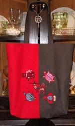 Red-and-Brown totebag with Southwestern Indian motif embroidery