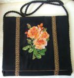 Black shoulder bag with rose embroidery