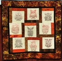 Whimsical owl wall quilt