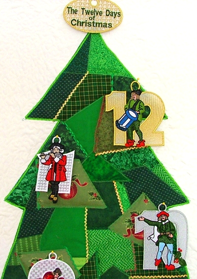 Free projects and ideas advanced embroidery designs for 12 days of christmas door decoration