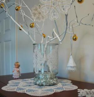 freestanding lace can be used to embellish glass surfaces for a unique look read about how to do this in the project glass vase decorated with lace - How To Decorate Glass Vases For Christmas