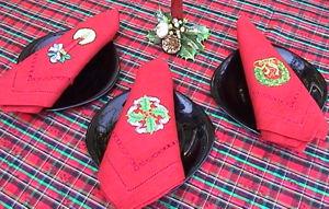 xmas table napkin kitchen christmas runners serviette gift cheap xmas holder table table  flower