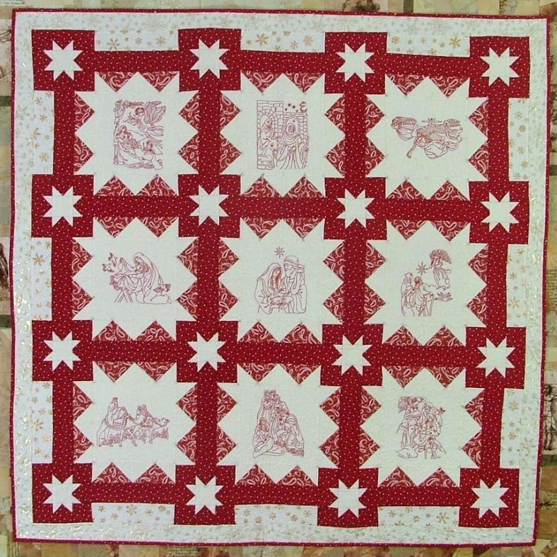 Nativity Redwork Quilt  Advanced Embroidery Designs