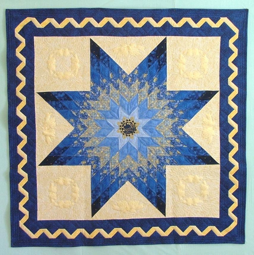 Quilting Pattern For Lone Star : Bethlehem Star Wall Quilt with machine Embroidery - Advanced Embroidery Designs
