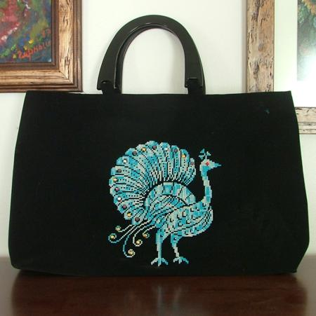 Peacock Hand Bag With Machine Embroidery Advanced Embroidery Designs