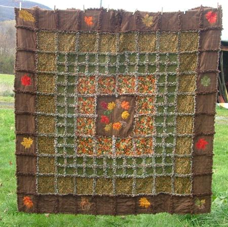 Autumn Leaves Frayed Edge Quilt Advanced Embroidery Designs