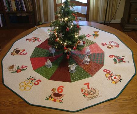 the finished size of the tree skirt is about 44 in diameter the designs used are 12 days of christmas applique set - Cheap Christmas Tree Skirts