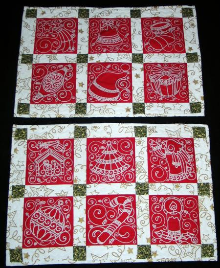 Quilted Christmas Placemats Advanced Embroidery Designs