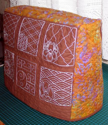 Quilted Cover For A Small Sewing Machine With Sashiko Embroidery