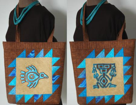 Southwestern tote with machine embroidered applique advanced