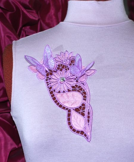 Butterflies on flowers cutwork lace advanced embroidery