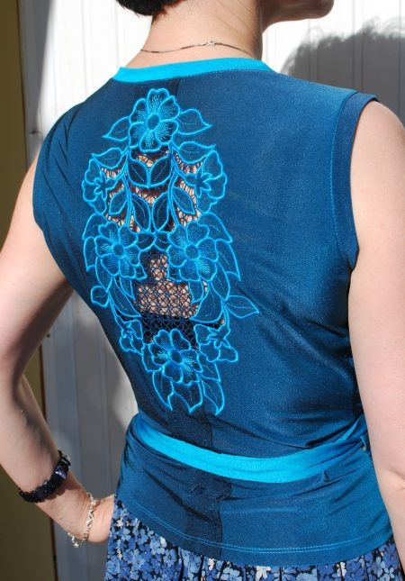 Wild rose cutwork lace insert on a jersey blouse