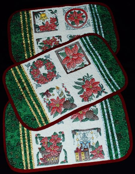 Quilted Christmas Placemats With Embroidery Advanced