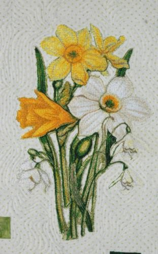 Springtime Quilt With Daffodil Embroidery Advanced