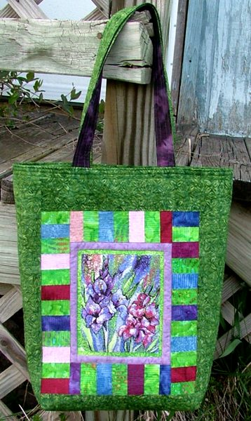 Quilted Tote Bag With Gladiolus Embroidery - Advanced Embroidery Designs