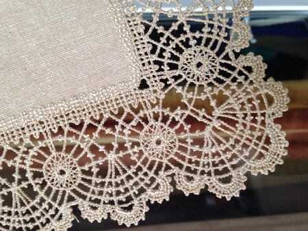 Freestanding Bobbin Lace Doily With Fabric Center Advanced Embroidery Designs