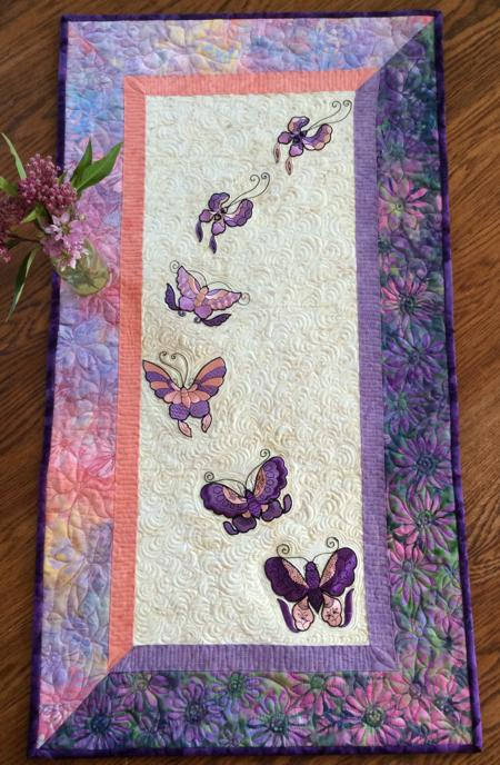 Quilted Table Runner With Butterfly Embroidery Advanced