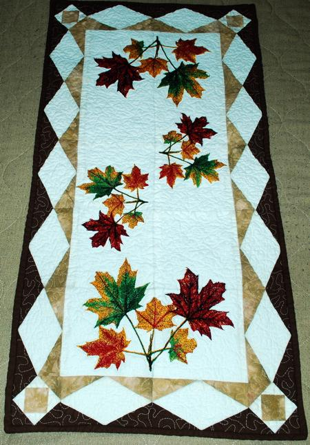 Maple Leaves Table Runner Advanced Embroidery Designs