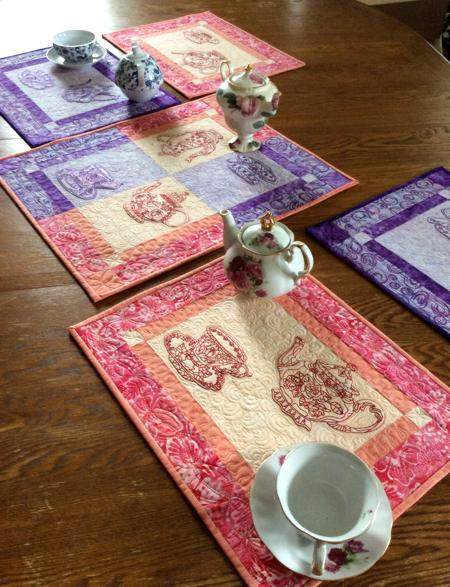 Quilted Tablerunner And Placemats With Tea Set Embroidery