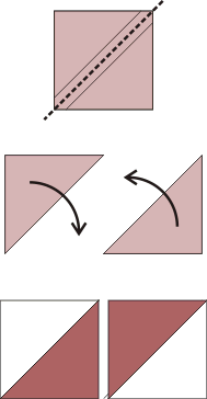 Cut along the diagonal and open the half-triangle squares.