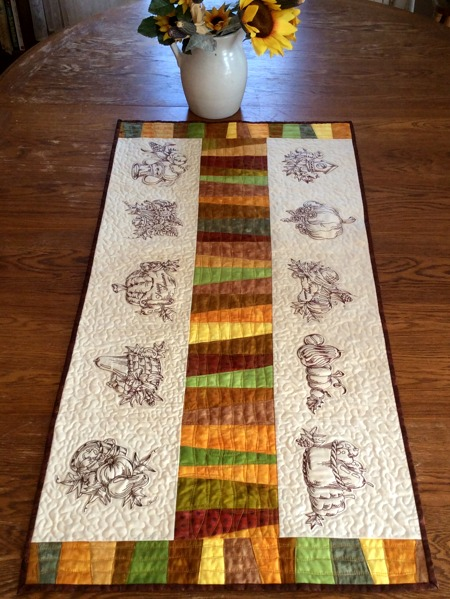 Autumn Themed Quilted Tablerunner Advanced Embroidery