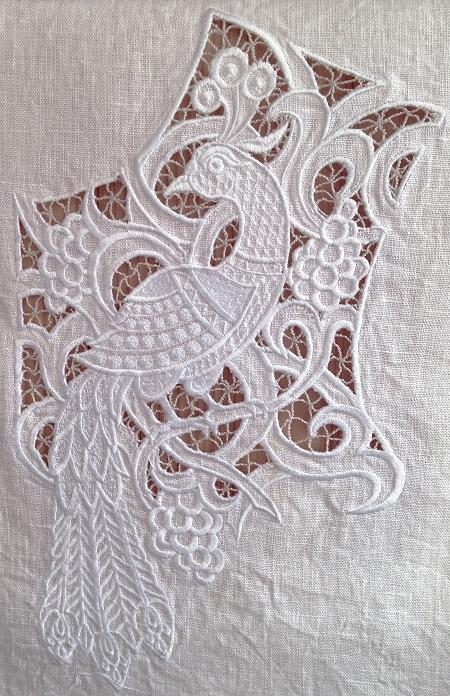 Advanced embroidery designs cutwork lace peacock yoke