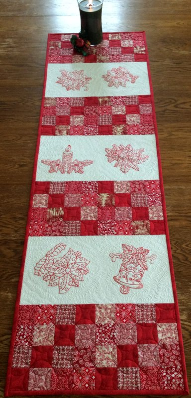 Red And White Christmas Tablerunner Advanced Embroidery