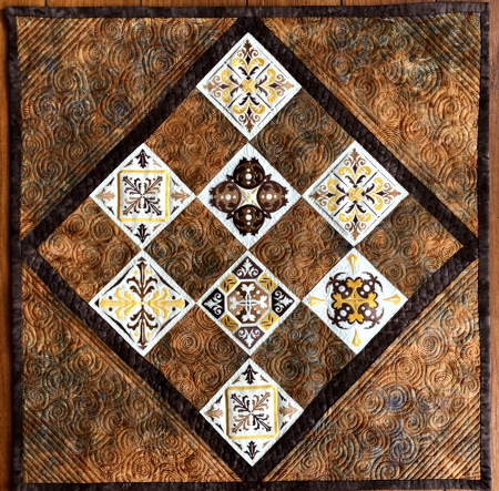 Quilted Tabletopper with Tiles Embroidery