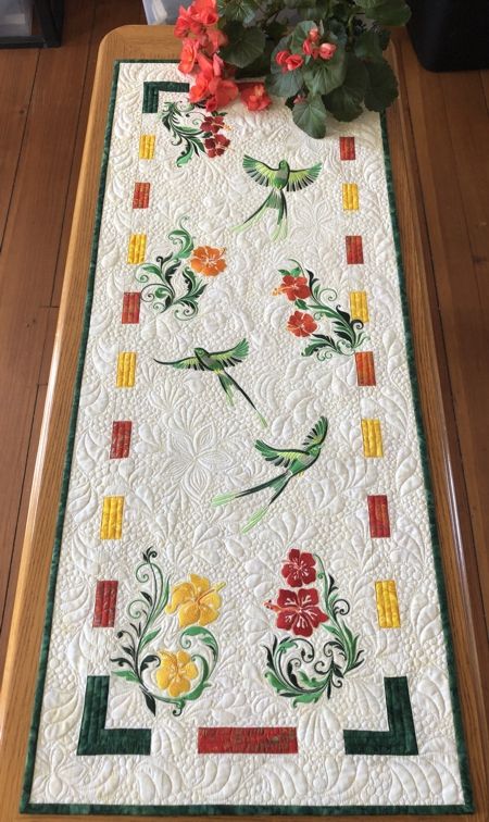 Birds and Blooms Quilted Tablerunner