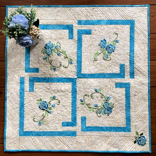 Quilted Tabletopper with Blue Roses Embroidery