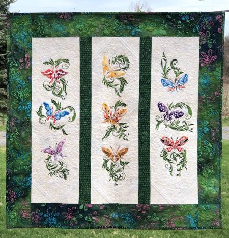 Butterfly Wall Quilt with Machine Embroidery