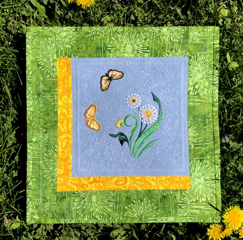 Small Spring Quilt with Dandelion and Butterfly Embroidery