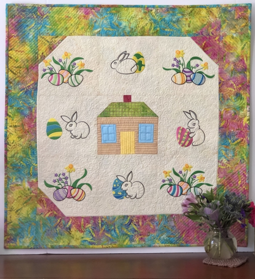 Easter Egg Hunt Wall Quilt with Machine Embroidery