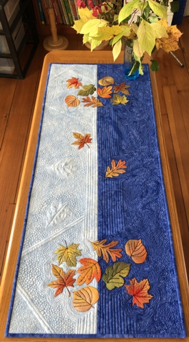 Autumn Quilted Tablerunner with Fall Leaves Embroidery