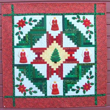 Christmas Scrap Log Cabin Quilt With Applique   Advanced Embroidery Designs