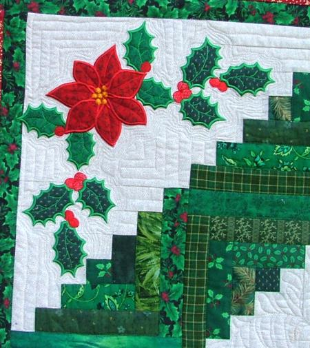 Christmas Scrap Log Cabin Quilt with Applique - Advanced Embroidery Designs