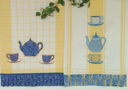 Kitchen Towels with Tea Set Appliqué - Advanced Embroidery ...