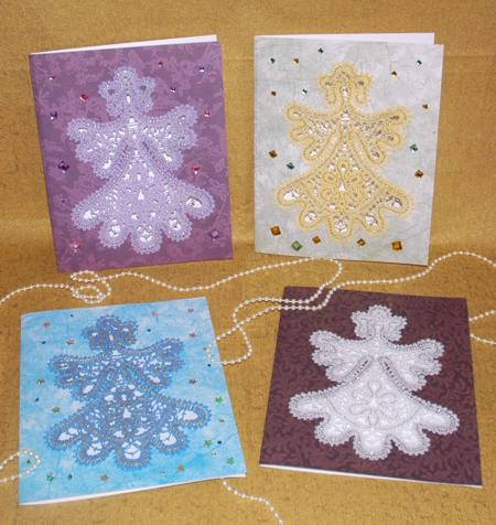 These charming greeting cards feature the FSL Battenberg Angel Lace.