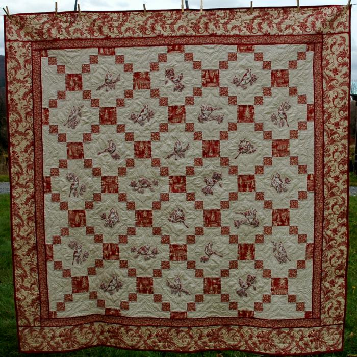 Christmas Toile And Cardinal Embroidery Bed Quilt Advanced