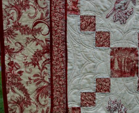 Christmas Toile And Cardinal Embroidery Bed Quilt