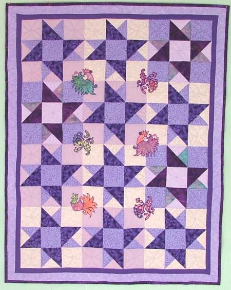 Star Quilt Embroidery Design : Double Friendship Star Quilt with Fancy Bird Applique ...