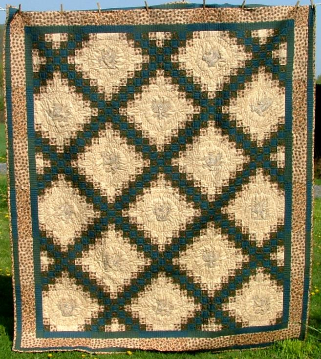 Triple Irish Chain Bed Quilt with Embroidery - Advanced Embroidery Designs