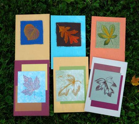 Autumn themed greeting cards with leaf embroidery advanced autumn themed greeting cards with leaf embroidery m4hsunfo
