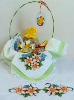 Easter basket with embroidered doily