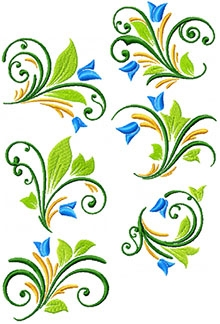Spring Swirl Set of 6 Machine Embroidery Designs